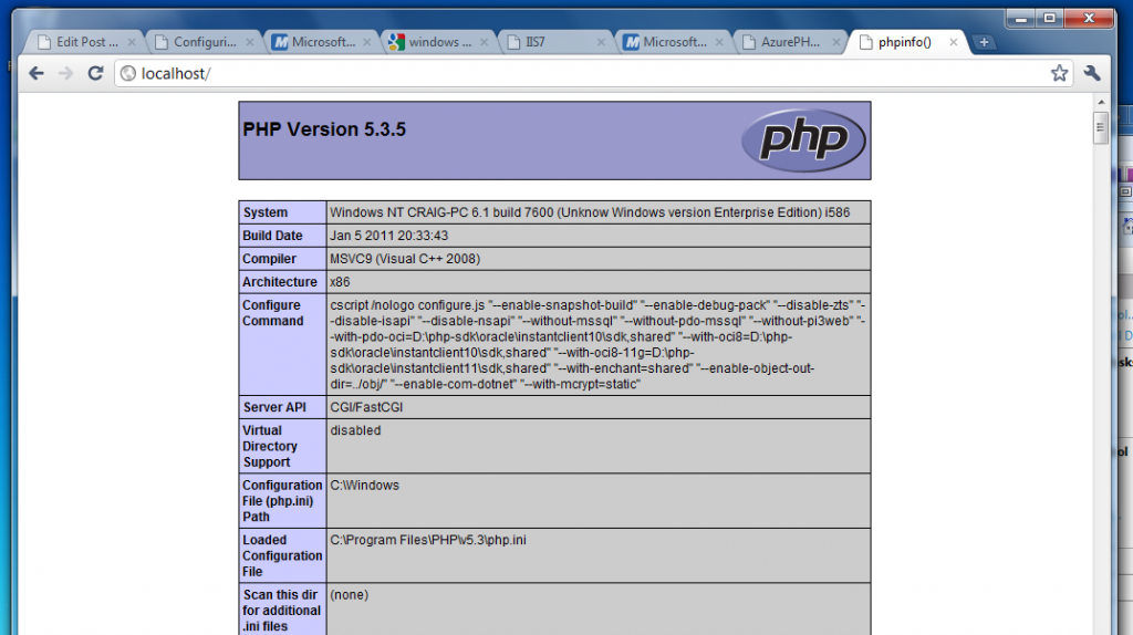 The PHPInfo page, courtesy IIS